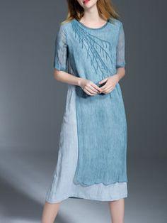 Silk Casual Paneled Half Sleeve Midi Dress