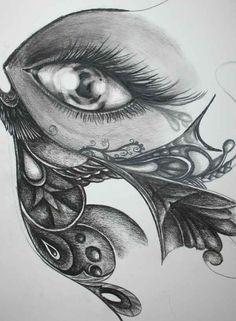 Butterfly eye 2010 - pencil and charcoal by Saysha  Nicolson - http://immortalart.co.za/