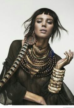 Nuria Nieva in Tribal Chic Fashion for Elle Romania by Jesus Alonso:You can find Romania and more on our website.Nuria Nieva in Tribal Chic Fashion for . Estilo Tribal, Estilo Hippie, Moda Tribal, Tribal Mode, Ethnic Fashion, African Fashion, Trendy Fashion, Nomad Fashion, African Men