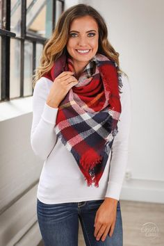 Precious Heart Plaid Blanket Scarf -Red/Navy/White