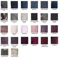 """My current wardrobe color scheme (dusky summer) - my rough draft as I attempt to do the exercise """"Developing a Colour Palette for your Wardrobe"""" on Into-Mind http://into-mind.com/2013/05/23/developing-a-colour-palette-for-your-wardrobe/"""