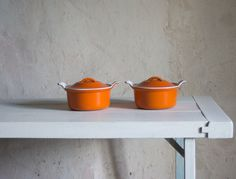 Vintage Le Creuset  Pot // Cast Iron Casserole Dish // Orange Enameled  Cookware // French Retro by FrenchAtticFinds on Etsy https://www.etsy.com/listing/192790298/vintage-le-creuset-pot-cast-iron