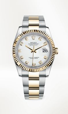 The Datejust 36 in 904L steel and 18 ct yellow gold, with a fluted bezel, white dial set with diamonds and Oyster bracelet.