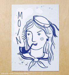 MATROSIN+⚓+Postkarte+von+PLATTE+ANNA+auf+DaWanda.com