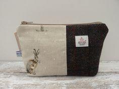 Harris Tweed Makeup Cosmetic Bag Tartan Bag by TheCrimsonCoo