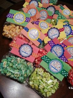 Candy Coated Flavored Popcorn with Favor Tags