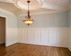 Sherwin-Williams Tradewind (walls), Dover White (trim), Biscuit 50% (ceiling)…