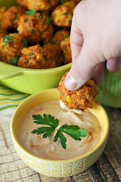 Cheesy Chorizo Cornbread Balls with Chipotle Dipping Sauce.  The upgraded version of Sausage Balls-- so good for parties.  Must have for the Super Bowl.   hostthetoast.com