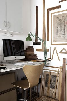 Office with vintage drafting tools
