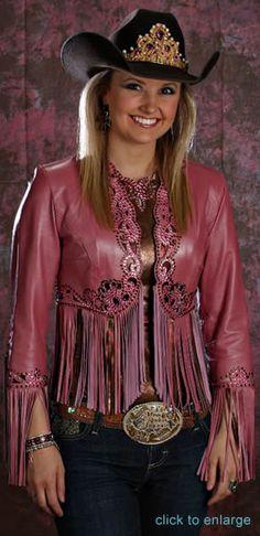 Amy Wlson, Miss Roseo America 2008 wears a rose pearlized lambskin fringed bolero