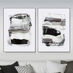 Abstract Print Set, Set of 2 Prints, Abstract Art Print Black and White Art, Modern Art, Printable art Contemporary Wall Art, Large wall art by DanHobdayArt on Etsy