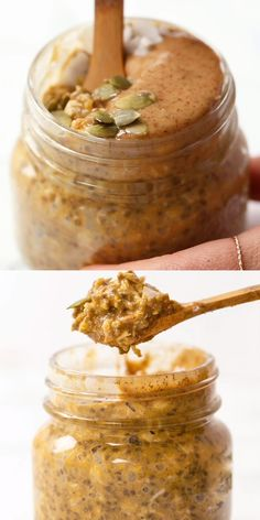 This high-protein Pumpkin Pie Quinoa Overnight Oats is the perfect healthy breakfast recipe for work or school! Made in a jar so you can grab it when you're on the go! Made with delicious ingredients like quinoa, oats, maple syrup, protein powder, and chia seeds. Naturally gluten-free, vegan and full of flavor! #pumpkinbreakfastrecipes #overnightoats #quinoabreakfast #pumpkinoats
