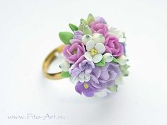 """Another interesting floral arrangement ring. Handmade Flowers - Jewelry """"Gentle Spring"""""""