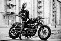 If I ever get a Harley (RSD Harley Cafe Sportster), I sure hope my riding buddies are as confident as her.
