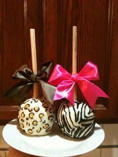 Zebra & Cheetah Caramel Apples