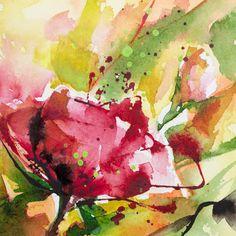Petit instant N° 217 (Peinture), 10x10 cm par Véronique Piaser-Moyen Aquarelle originale sur papier 300 G