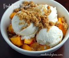 Our two peach trees were loaded this year, so I have become very creative trying to find recipes with fresh peaches. (No one in my family likes bottled peaches, so that option is out. Just Desserts, Delicious Desserts, Dessert Recipes, Yummy Food, Fresh Peach Recipes, Cream Recipes, Peaches And Cream Dessert, Yummy Treats, Sweet Treats