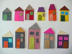 Houses of paper school - display crafts for kids, paper houses. Diy Projects To Try, Projects For Kids, Diy For Kids, Art Projects, Kids Crafts, Arts And Crafts, Cardboard Crafts, Paper Crafts, Hansel Y Gretel