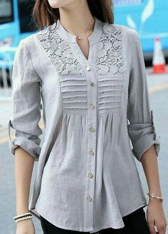Grey long sleeve lace panel smock shirt grey button up lace panel curved shirt cheer shirts Trendy Tops For Women, Blouses For Women, Ladies Tunics, T Shirts For Women, Minimalist Outfit, Sewing Clothes Women, Fall Outfits, Fashion Outfits, Cheap Fashion