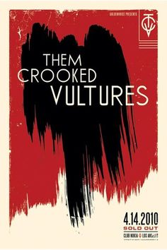 Kii Arens Them Crooked Vultures 4-14-2010 Poster artwork. #music #gigposters #musicart http://www.pinterest.com/TheHitman14/music-poster-art-%2B/