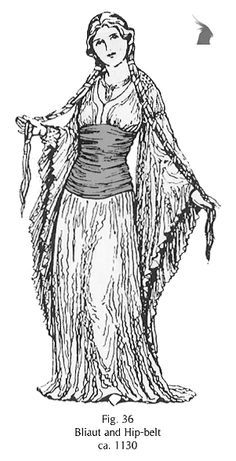 Bliaut: (or bliaud) a women's and also a men's overgarment worn from the eleventh to the thirteenth century in Western Europe, featuring voluminous skirts and horizontal puckering or pleating across a snugly fitted under bust abdomen.