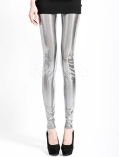 Glitter Silver Spandex Women's Leggings - Milanoo.com