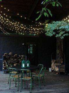 Fancy - Mood-Setting Outdoor Lighting | Apartment Therapy DC Outdoor Rooms, Outdoor Dining, Outdoor Decor, Outdoor Cafe, Outdoor Parties, Outdoor Fun, Outdoor Ideas, Dining Area, Backyard Lighting