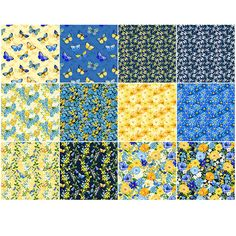 Quilting Fabric Thin Yellow /& Blue Stripes Green BG Fat Quarters 100/% Cotton