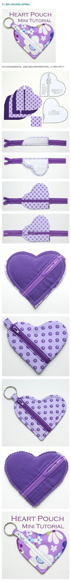 Handmade heart-shaped coin purse, convienent for coins or keys. Perhaps you could also use the idea for any shape? [foreign link, but pic shows steps to make].