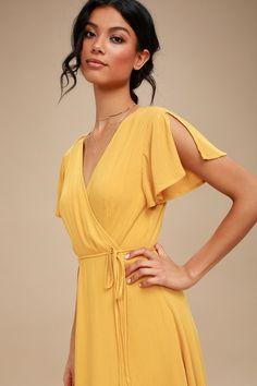 Harbor Point Mustard Yellow Wrap Dress Source by lulusdotcom casual dresses sundresses Wrap Dress Short, Maxi Wrap Dress, Short Sundress, Yellow Sundress, Casual Summer Dresses, Casual Dresses For Women, Summer Maxi, Outfit Summer, Spring Dresses