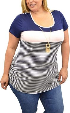 9b7ff296c2a6fb Urban Rose Color Block Necklace Tops For Women, Plus Size Clothing, Ruched