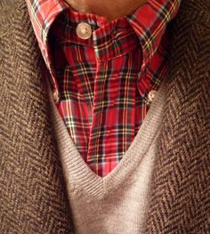 J. Press Harris Tweed, Uniqlo merino v-neck, and a Brooks Brothers Royal Stewart button-down.