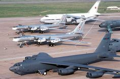 COMPARE USA vs RUSSIA'S LARGEST BOMBERS - 2 RUSSIAN Tu-95 BEARS NEXT TO B-52 STRATOFORTRESS