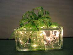 Green and Gold Sparkle Shamrocks on glass block by Originalsbysuej, $25.00
