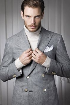 Grey jacket + cream polo neck = like
