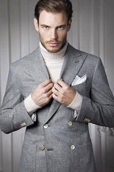 Grey jacket + cream polo neck = like