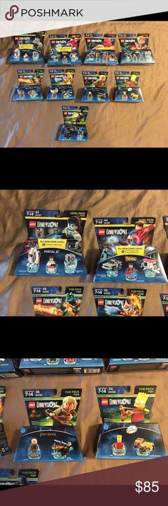 Lego dimensions nine piece lot NIP Thank you for viewing my listing, for sale is a giant lot of 9, Lego dimensions, brand-new in the package, level packs, team packs, and fun packs If you have any questions or would like additional photos please feel free to ask. Team packs: Jurassic World 71205 Ninjago 71207  Level packs: Portal 2 - 71203 Back to the future 71201  Fun packs: Chima 71232 Lord of the rings 71219 Wizard of Oz 71221 Bart Simpson 71211 Chima 71223 Lego Accessories