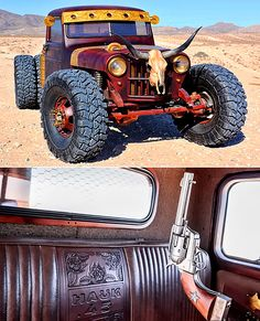 Bang, Bang: Hauk Jeep – A Guns Of The Wild West Inspired 1948 Willys Pickup Dually - ThrottleXtreme Jeep Pickup, Jeep 4x4, Jeep Truck, Custom Rat Rods, Custom Trucks, Custom Cars, Lifted Trucks, Dodge Trucks, 4x4 Trucks