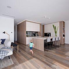 Kitchen Wood Design, Contemporary Kitchen Design, Interior Design Kitchen, Home Room Design, Home Design Plans, Dining Room Design, House Design, Open Plan Kitchen Living Room, Kitchen Dining Living