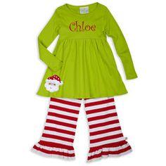 Lime Red Stripe Empire Cotton Ruffle Pant Set