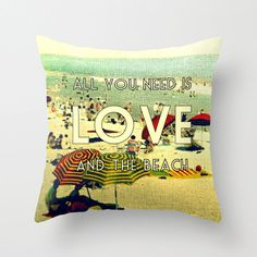 Gifts For Her  Throw Pillow Cover   ALL YOU NEED Pillow  V Decorative 1940s Beach House Decor    Color Photograph   Sea Ocean Seaside