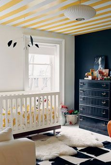 nursery, striped  ceiling, blackboard painted wall, jenna lyons, domino.  favorite nursery of all time.