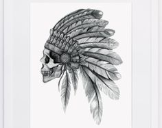 NZFINCH A4 Indian Chief headdress digital print of original artwork