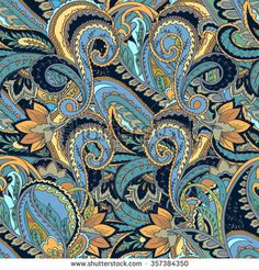 Paisley background. Hand drawn seamless pattern. Pattern for silk scarves, neck scarves, decorative pillows, in the Persian style