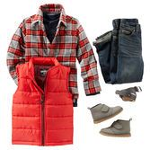 With a puffer vest layered over a soft henley and button-front plaid, he'll be the most stylish one around the campfire. Add OshKosh denim and boots and he's good to go!