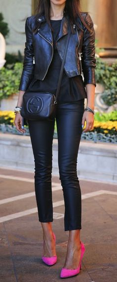 Love the purse!! Black Motorcycle Jacket + Black Tank + Black Leather Pants + Pink Heels
