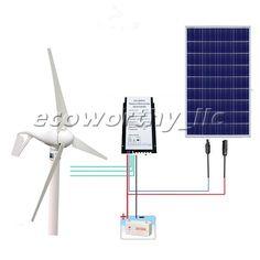 Daily 1750W Hybrid System Kit: 400W Wind Turbine Generator & 100W Solar Panel. Here is a 400W 12V Wind Turbine Generator with hybrid controller and 1PC100W poly solar panel home system, the controller auto works in 12V/24V. | eBay!