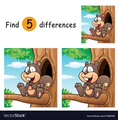 Illustration about Vector Illustration of Game for children find differences - Squirrel. Illustration of tree, game, education - 66542778 Puzzles For Toddlers, Printable Activities For Kids, Worksheets For Kids, Birthday Party Games For Kids, Fun Activities For Kids, Spot The Difference Kids, Kids Word Search, Kids Art Class, Picture Puzzles