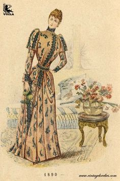 1890 Free Download, Feminine Style, Colour Images, Victorian Fashion, Costumes, Womens Fashion, Gallery, Painting, Color