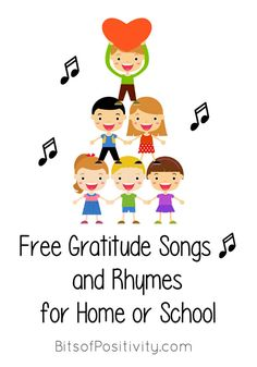 Lots of free gratitude songs organized into year-round gratitude songs, Thanksgiving gratitude songs, and religious gratitude songs. Gratitude songs for a variety of ages in the classroom or at home - Bits of Positivity Thanksgiving Songs For Preschoolers, Thanksgiving Preschool, Thanksgiving Videos, Gratitude Poems, Attitude Of Gratitude, Preschool Songs, Kids Songs, Preschool Ideas, Thankful Songs